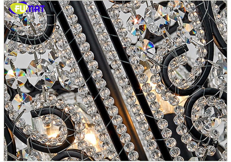 FUMAT Crystal K9 Pendant Lamps Anchor Crown Form Lights Iron Flower Crystal Clear Gold Black Lighting Body hanging light fixture 8