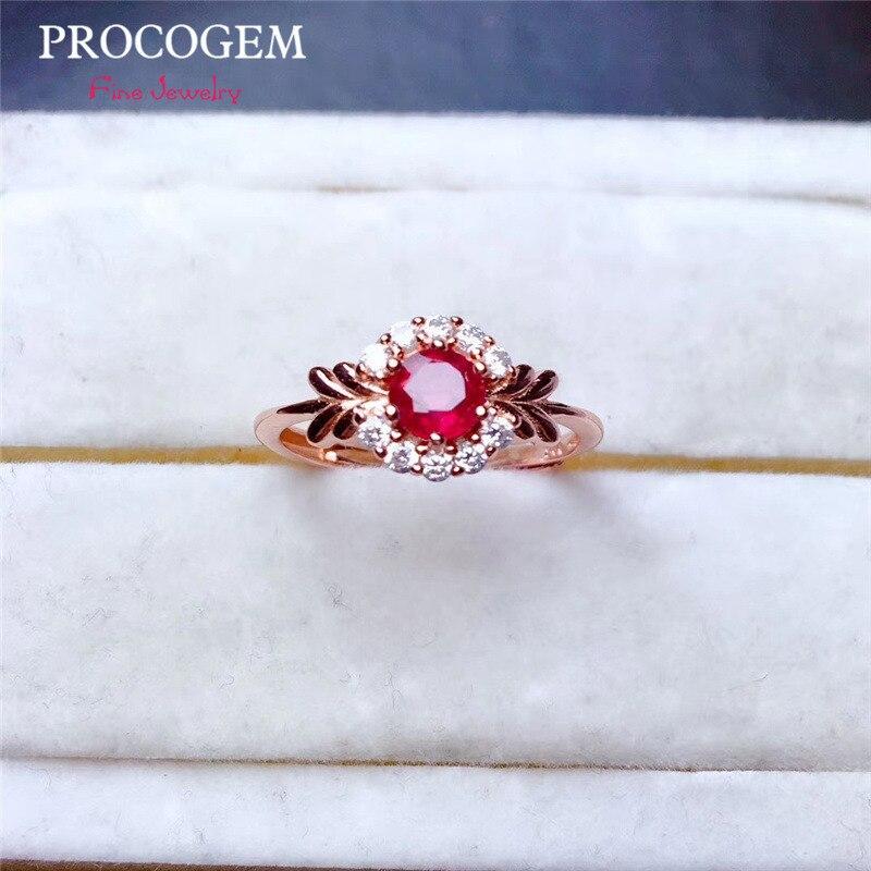 Jolies bagues en rubis naturel pour femmes anniversaire 4mm 0.32Ct véritables pierres précieuses bijoux fins 925 argent Sterling livraison gratuite #491