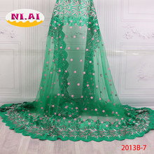 2018 African French Green Lace Fabric High Quality Tulle French 3D Net Tulle Lace Fabric Women African Fabric Dresses NA2013B-2