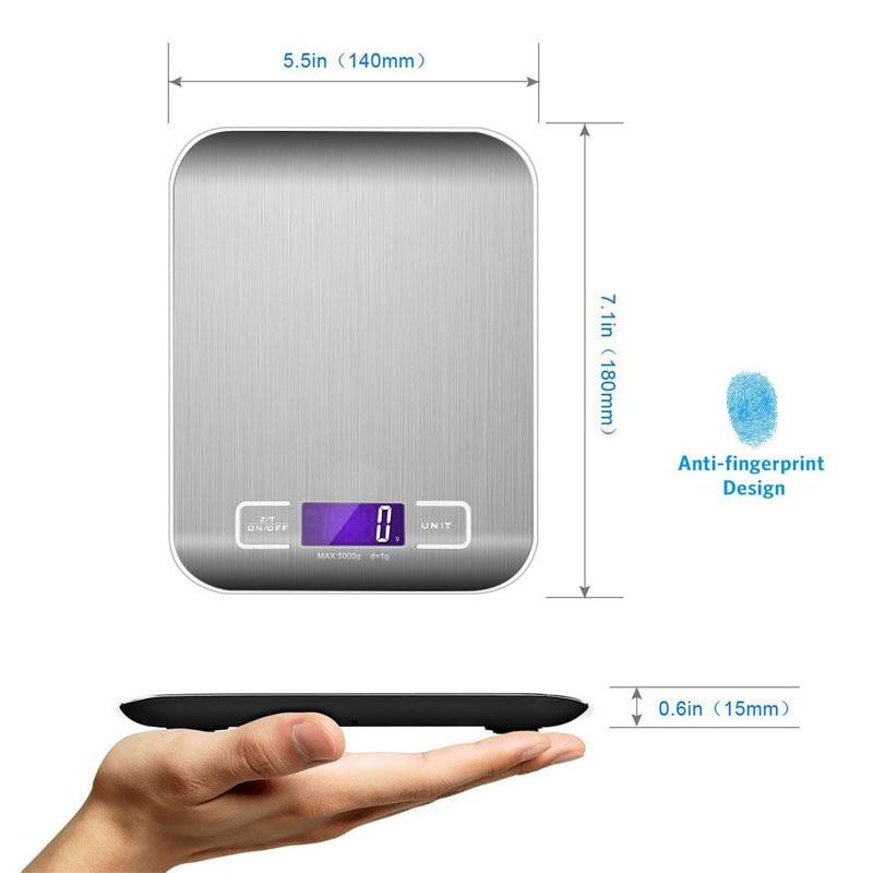 1 Pcs Digitale Keukenweegschaal 5 kg 10 kg/1g Koken Schaal Nauwkeurigheid Voedsel Schaal, back-Lit LCD Display Tarra Auto Off Batterijen Inbegrepen