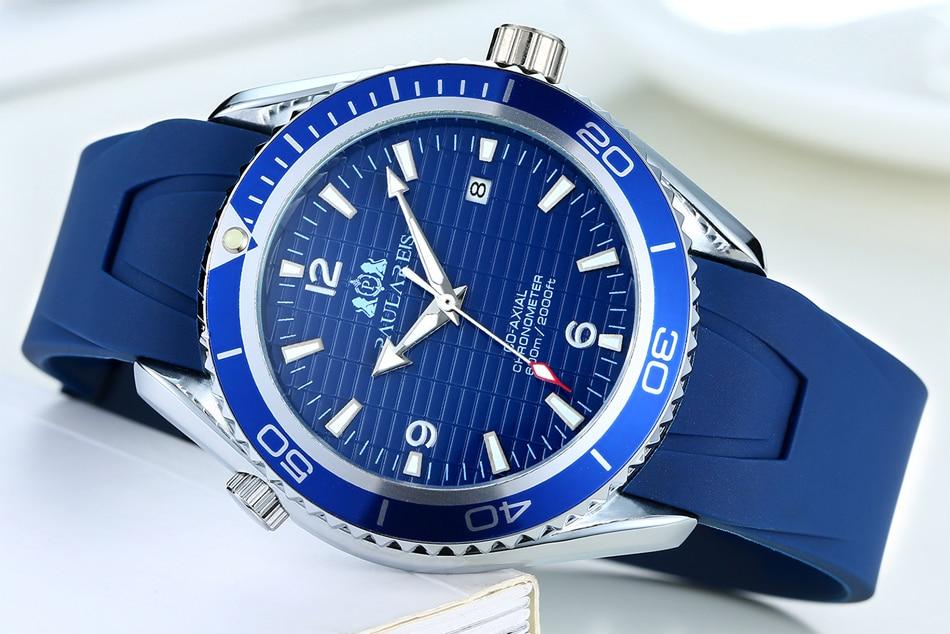 Men Automatic Self Wind Mechanical Stainless Steel Strap Simple Orange Blue Black Bezel James Bond 007 Style Date Business Watch