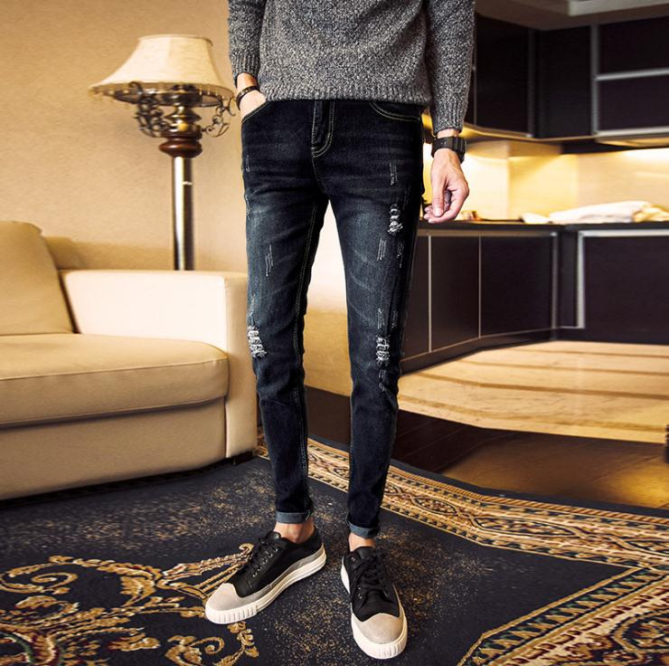 Top Quality 2019 Spring Autumn Casual Men's Ripped Hole Jeans Slim Fit Men's Youth Elastic Feet Slim Teenager Retro Pencil Pants