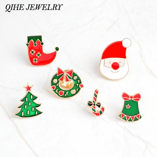 qihe jewelry brooches and pins christmas pins christmas tree wreath stocking bells santa brooches christmas decoration - Christmas Pins