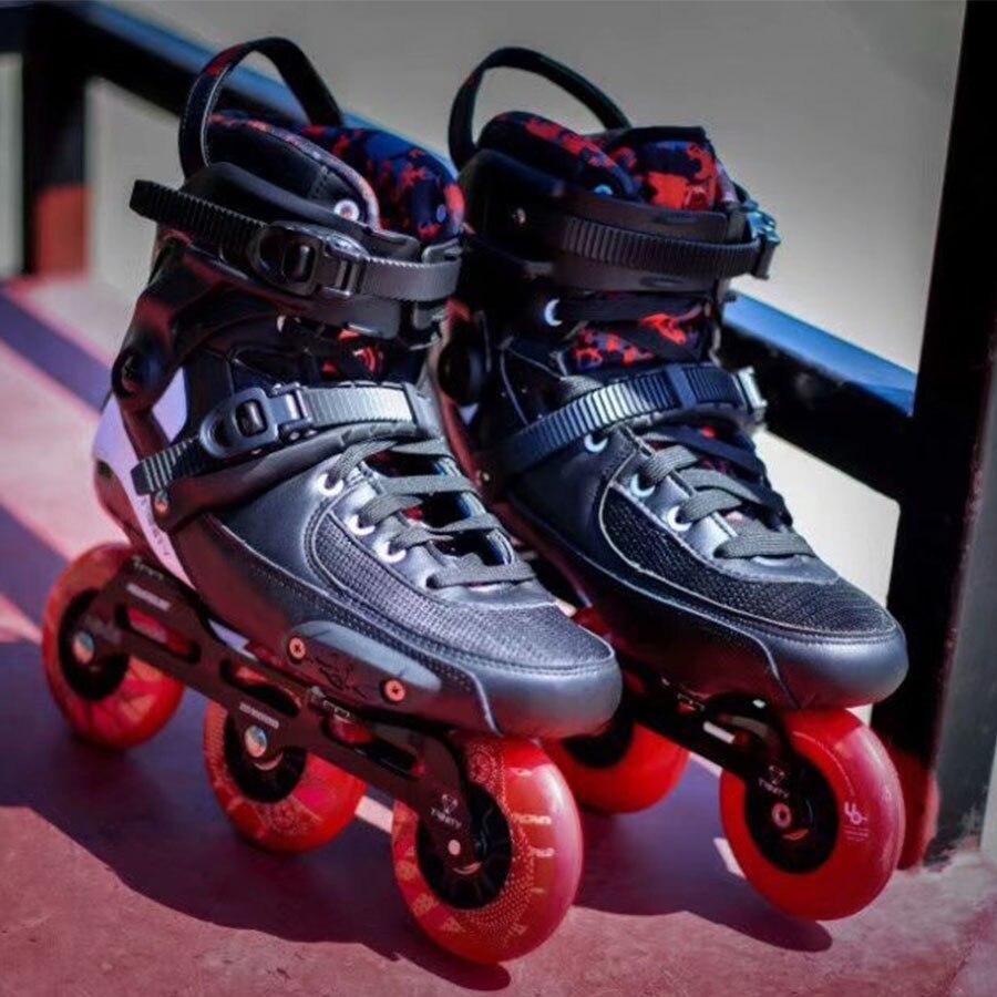 2019 Original Powerslide TAU trinité 3*90mm en Fiber de carbone vitesse patins à roues alignées adultes chaussures de patinage Patines gratuites