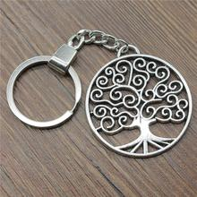 Antique Silver 47x42mm Round Tree Keychain New Vintage Handmade Metal Key Ring Party Gift
