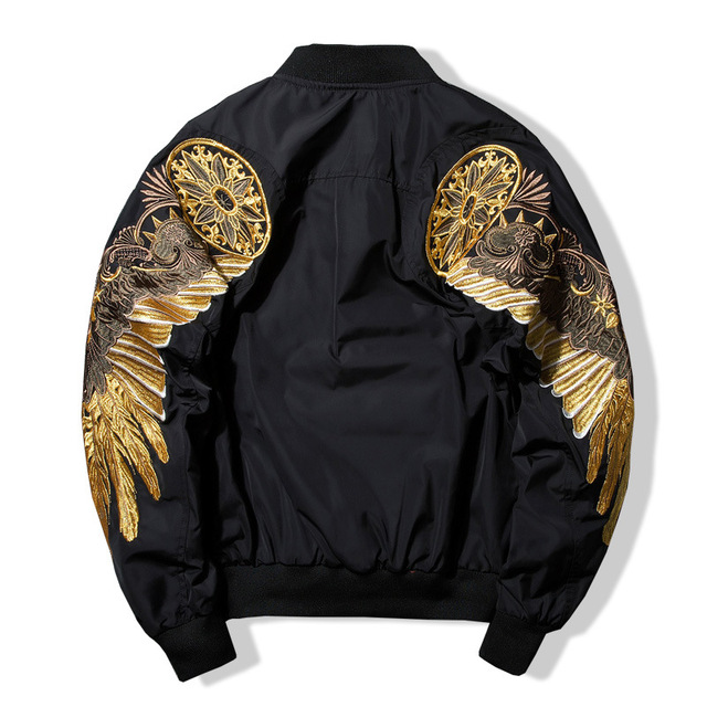 Top Quality Spring Bird Wings Embroidery Baseball Jacket Stand Collar Plus Size 3XL Bomber Coat Chaquetas Hombre DropShipping  1