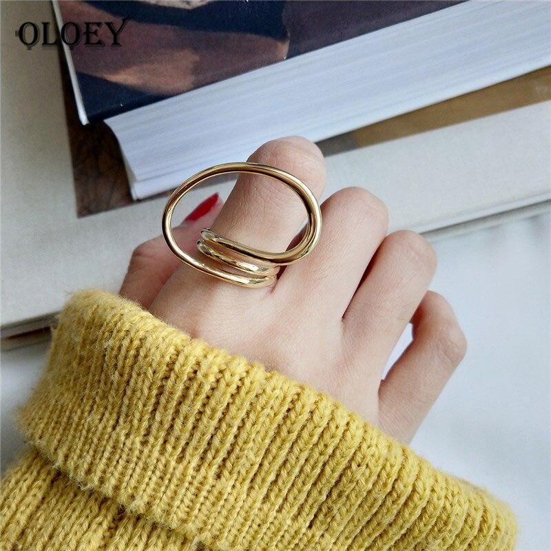 OLOEY Genuine 925 Sterling Silver Open Rings For Women Men Korean Trendy Twisted Geometric Finger Ring Bague Fine Jewelry YMR865