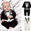 2016 Spring Baby Boy Rompers Suit Infant Set Toddler Cotton Long Sleeve Formal Gentleman Suit Baby Jumpsuit Sets Black White