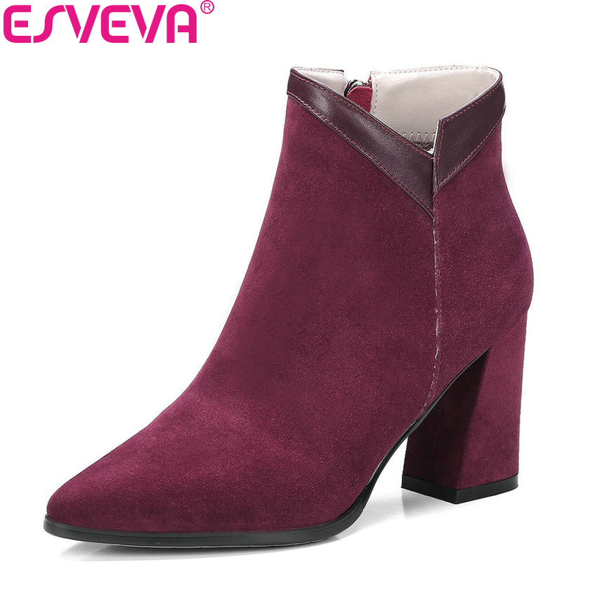 ESVEVA 2019 Women Boots Cow Suede PU Ankle Boots Pointed Toe Autumn Shoes Zipper Shoes Hoof High Heels Ladies Boots Size 34-39 esveva 2018 women boots elegant square high heels pointed toe ankle boots appointment lining warm fur pu ladies shoes size 34 39