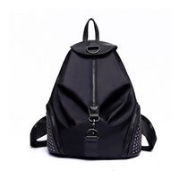 MIWIND Brand Fashion Women Backpacks Rivet Black Soft Washed Leather Bag Schoolbags For Girls Female Leisure