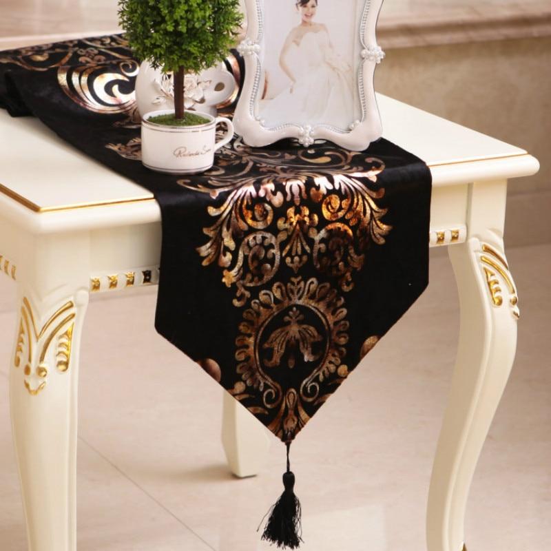 The Baroque Table Runner  European-style Neoclassical Chemin De Table Satin Velvet Bronzing Satin Table Runner Wedding Table