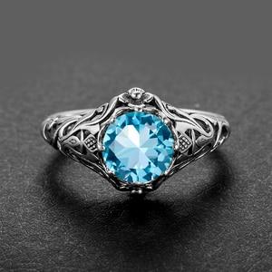 Image 5 - Szjinao Sky Blau Aquamarin Ring 925 Silber Für Frauen Punk 2,1 ct Vintage Edelstein Hochzeit Engagement Luxus Marke Edlen Schmuck