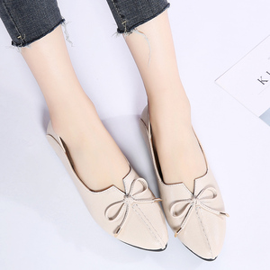Image 3 - STQ 2020 Autumn Women Ballet Flat Heel Shoes Genuine Leather Slip On Bowknot Woman Shoes Moccasins Loafers Work Shoes 1190