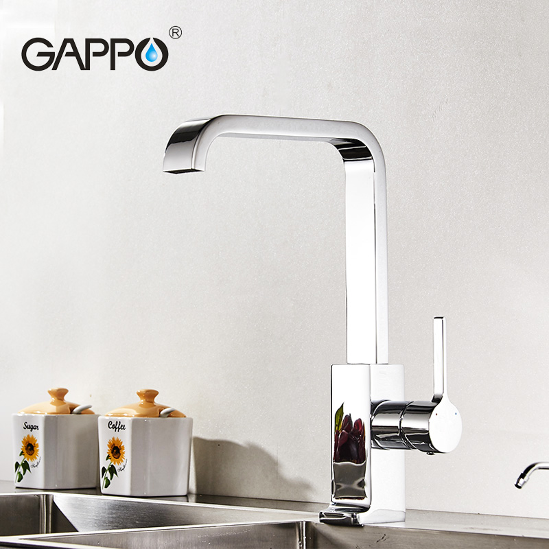 ФОТО GAPPO Luxury Style Brass Solid Kitchen Faucet Square Design Single Handle Cold and Hot Water Mixer G4004