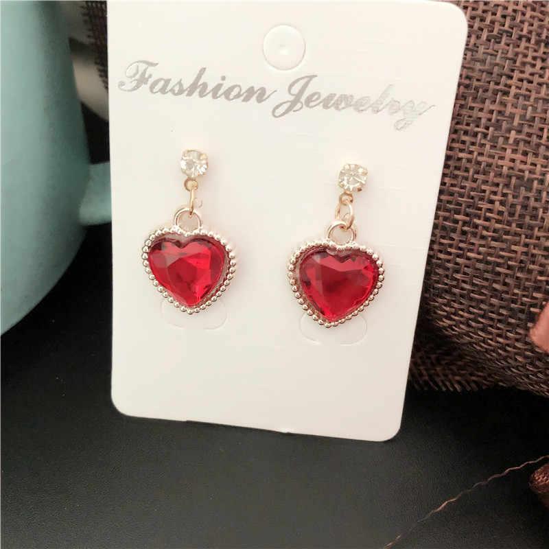 2019 nova Moda red Rhinestone do Coração Do Pêssego Bonito brincos de Pingente de Cristal Para As Mulheres de Jóias de Casamento Da Noiva Do Partido