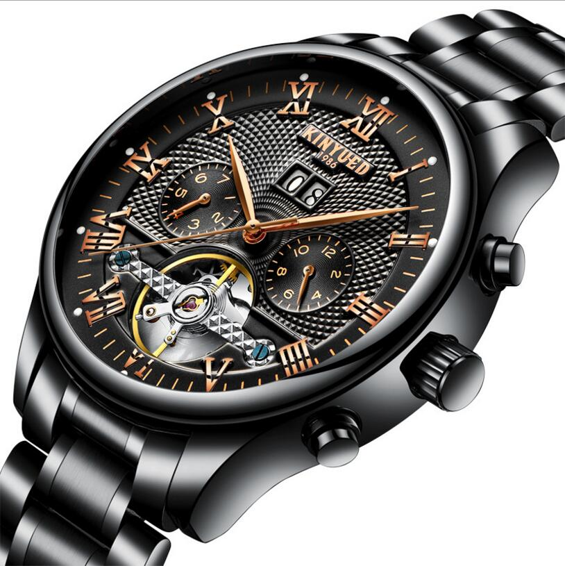 KINYUED Mens Stainless Steel Automatic Perpetual Calendar Watches Sapphire Mechanical Skeleton Watch Black Men Reloj Hombre wrist switzerland automatic mechanical men watch waterproof mens watches top brand luxury sapphire military reloj hombre b6036