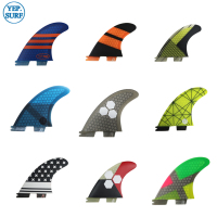 Free Shipping Surfboard fin FCS2 G3,G5,G7,K2.1 Carbon Fiber Tri fin set green orange FCSII fins