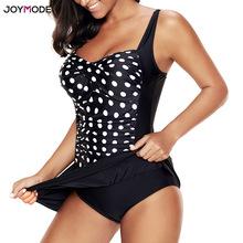 JOYMODE Black 2019 Bikini Dress One Piece Polka Beach Wear Women Big Plus Size 5XL 6XL Swimdress Cover Up Swim Skirt Swim Suit