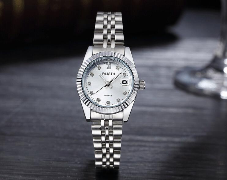 WLISTH роскошные золотые часы для женщин и мужчин, для влюбленных, нержавеющая сталь, Кварцевые водонепроницаемые мужские наручные часы для мужчин, аналог Авто Дата clcok - Цвет: Full Silver For Lady