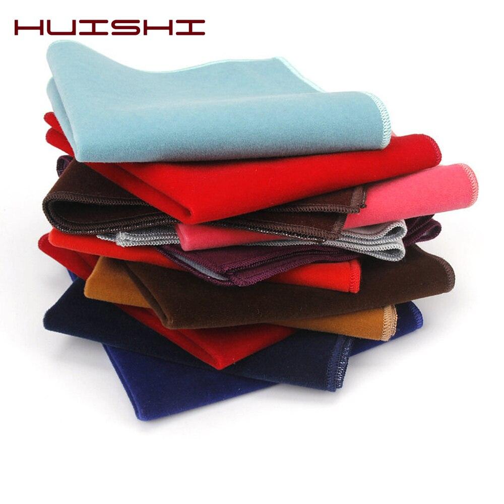 HUISHI Fashion Men Velvet Hankerchief Polyester Velvet Pocket Square Oversized Black White Red Blue Various Design Mens Gift