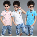 2016 New Tracksuit Children Casual Boys Summer Clothes T-Shirts And Jeans Pants Cool Kids Clothes Short Sleeve Roupa Menino