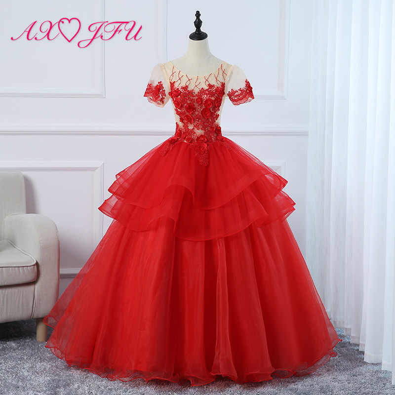 Anime Ball Gown White With Red Roses: AXJFU Princess Red Flower Lace Evening Dress O Neck Luxury
