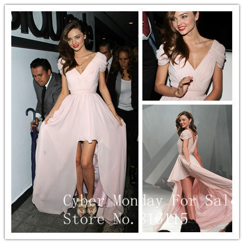 Sexy Cap Sleeves V Neck Miranda Kerr Celebrity Dresses 2017 Pink High Low Prom Dresses New Fashion