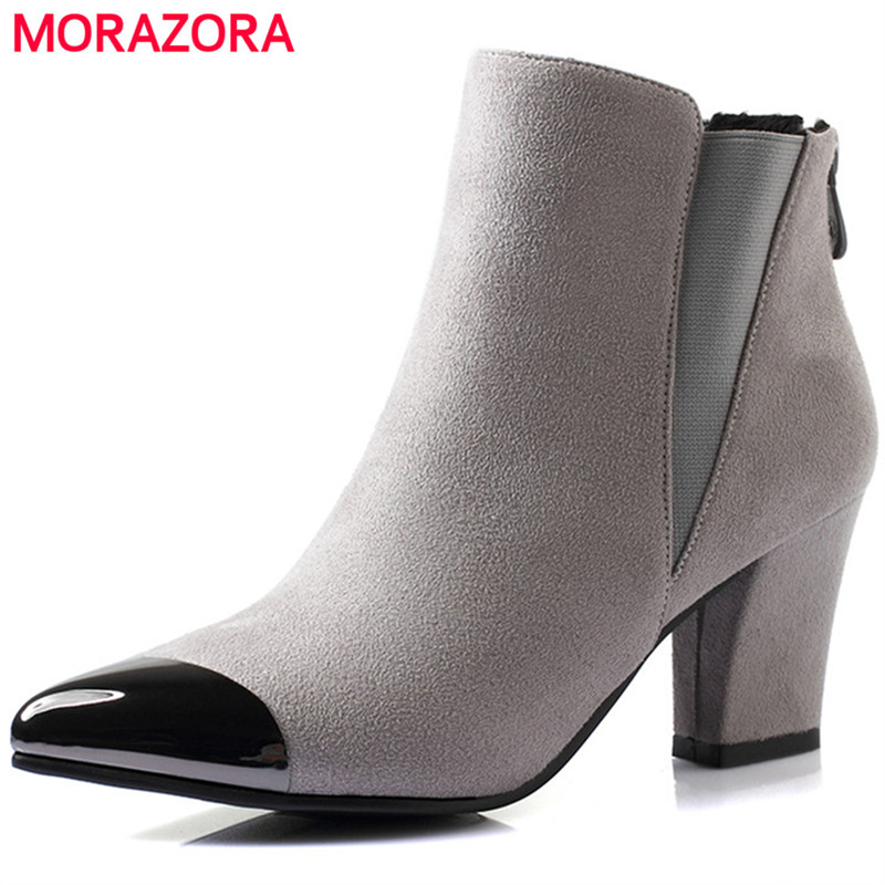 MORAZORA Large size 34-40 elegant party shoes woman ankle boots high heels shoes pointed toe zipper womens bootsMORAZORA Large size 34-40 elegant party shoes woman ankle boots high heels shoes pointed toe zipper womens boots