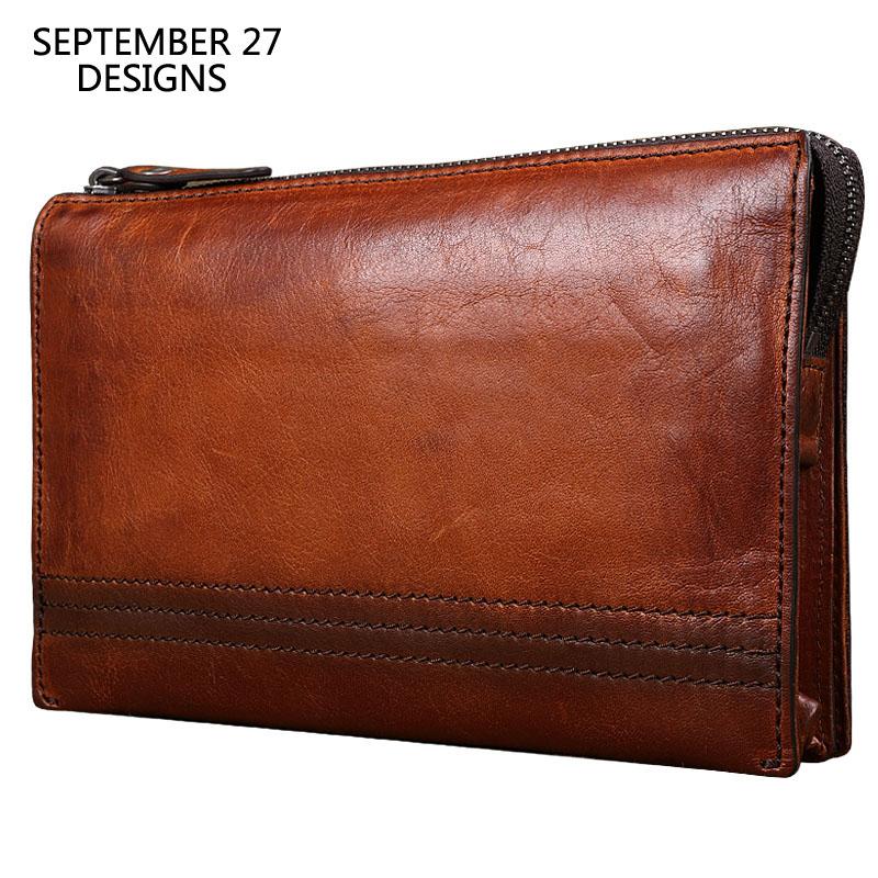 남자 클러치 첫 번째 레이어 가죽 손수 레트로 남성 대용량 긴 지갑 다기능 쇠가죽 채찍으로 치다 빈티지 여성 전화 지갑-에서지갑부터 수화물 & 가방 의  그룹 1