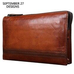 Bolso de mano para hombre, primera capa de cuero, hecho a mano, Retro, para hombre, de alta capacidad, cartera larga, bolsos multifuncionales de piel de vaca Vintage para teléfono