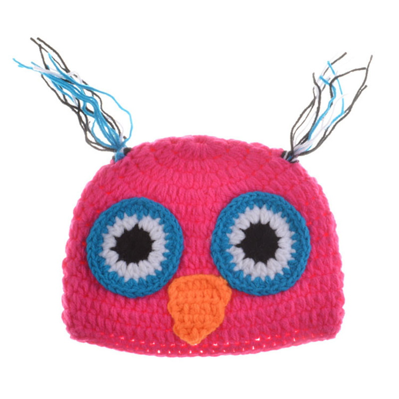 Hot Pink Baby Girl OWL Outfits Crochet Baby Owl Hat Newborn Baby OWL Outfits for Photo Shoot Girl Photography Props MZS-15022
