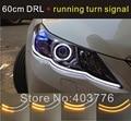 auto 2016 car headlight flexible DRL  with flow turn light daytime running light with running turn signal car tear light