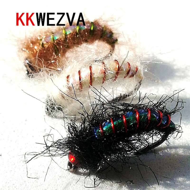 KKWEZVA 24pcs wet insects Fly fishing lure made of bright copper wire material Nymph Trout Fly Fishing Bait