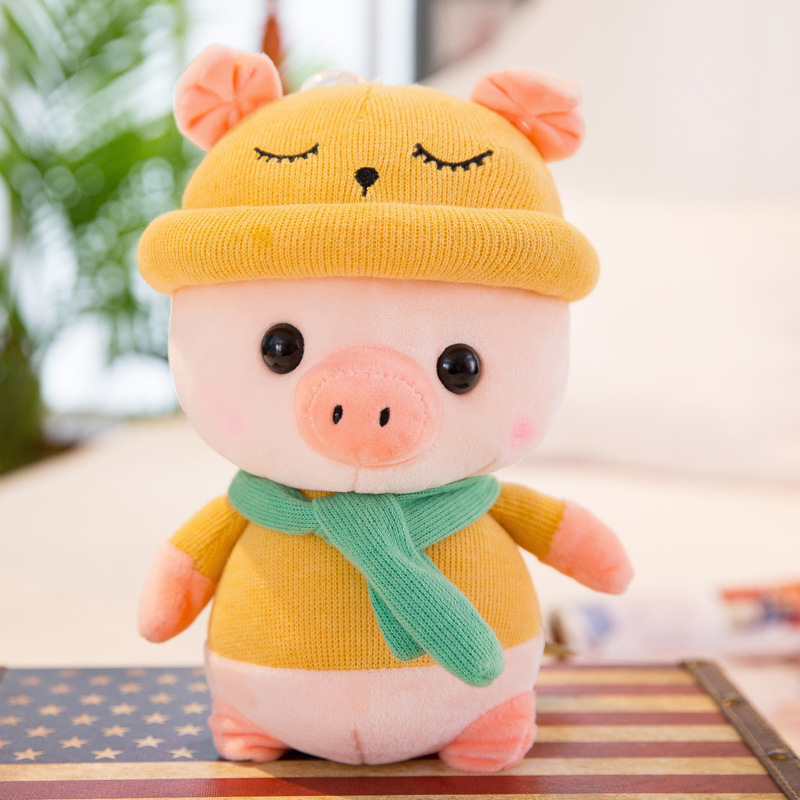 New cartoon hooded doll pillow pillow cute pig doll baby plush toy for baby gifts