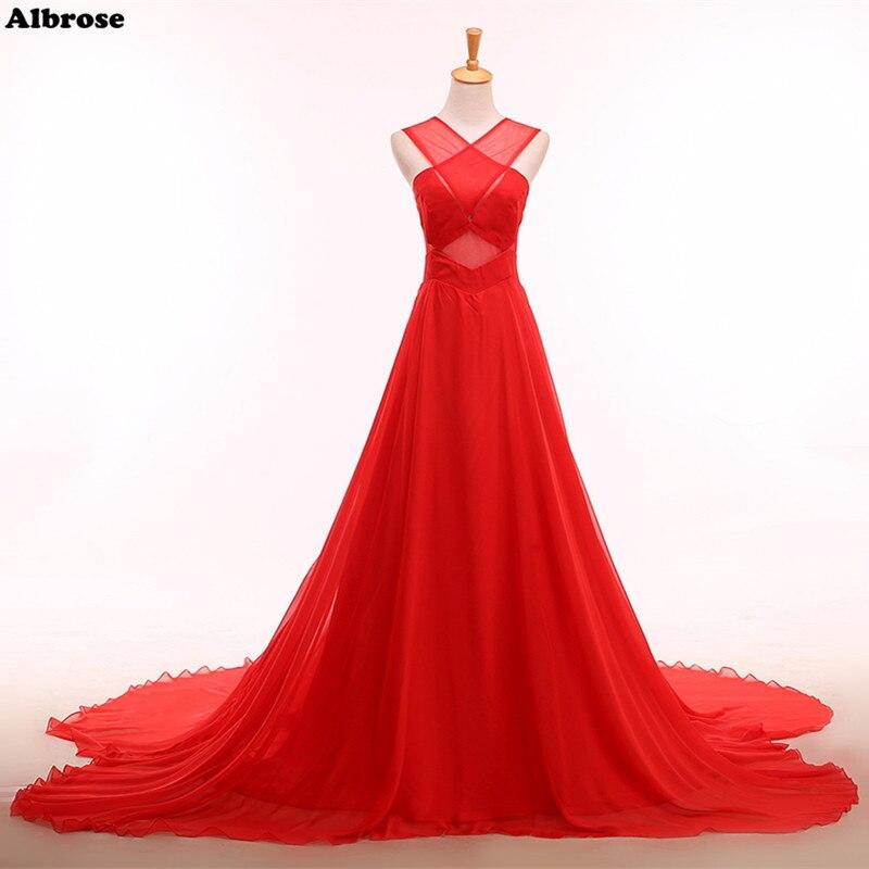 Discount Designer Evening Dresses: Elegant Sexy Backless Evening Dress Cheap Simple Red