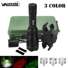 VASTFIRE L2 White/T6 Green/XPE RED Hunting Light Outdoor Waterproof LED Tactical Flashlight+Scope Mount+press Remote Switch
