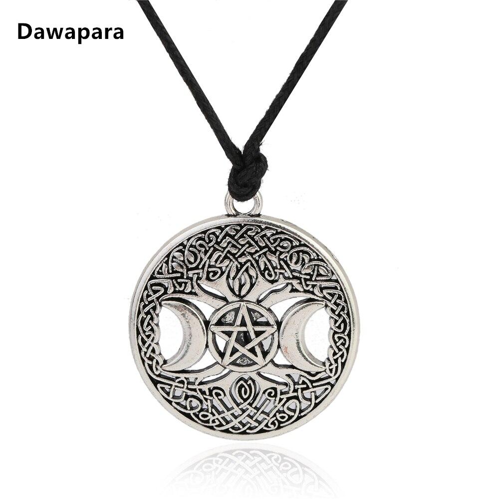 Dawapara triple moon goddess wicca pentagram magic amulet necklace dawapara triple moon goddess wicca pentagram magico amuleto collana donna albero della vita luna pendenti delle aloadofball Image collections