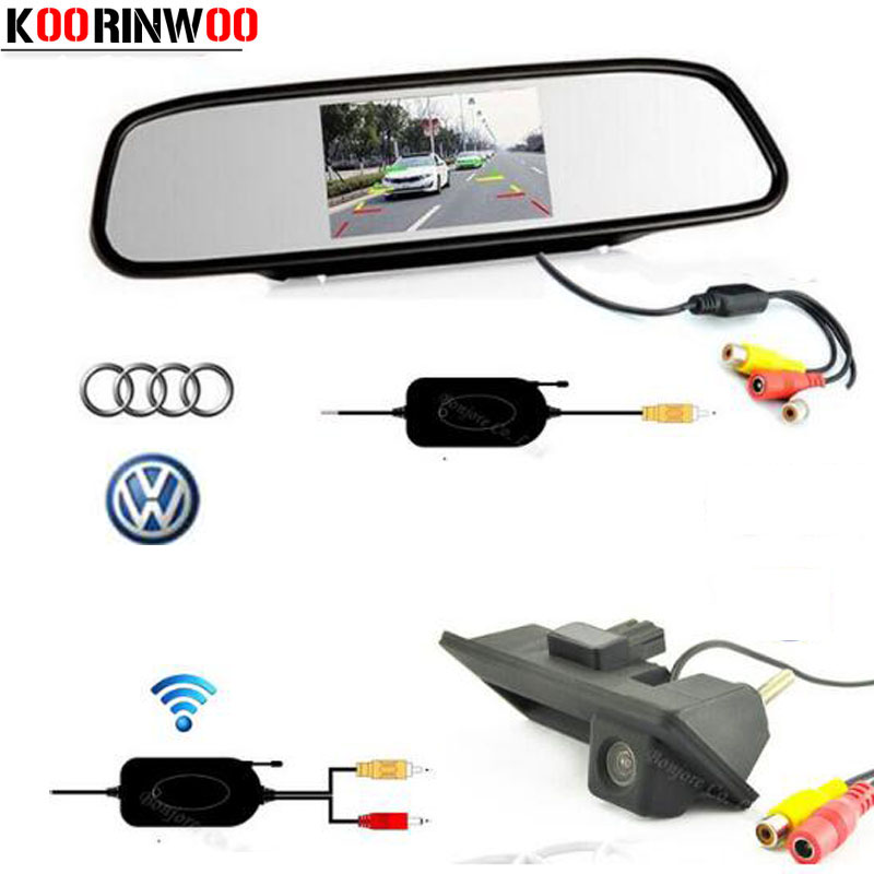 Koorinwoo Wireless Parking Car Handle Rearview Camera Mirror Monitor for Audi/VW/Passat/Tiguan/Golf/Touran/Jetta/Sharan/Touareg yatour car bluetooth adapter kit for factory oem head unit radio for audi for skoda for vw golf eos jetta passat touareg touran