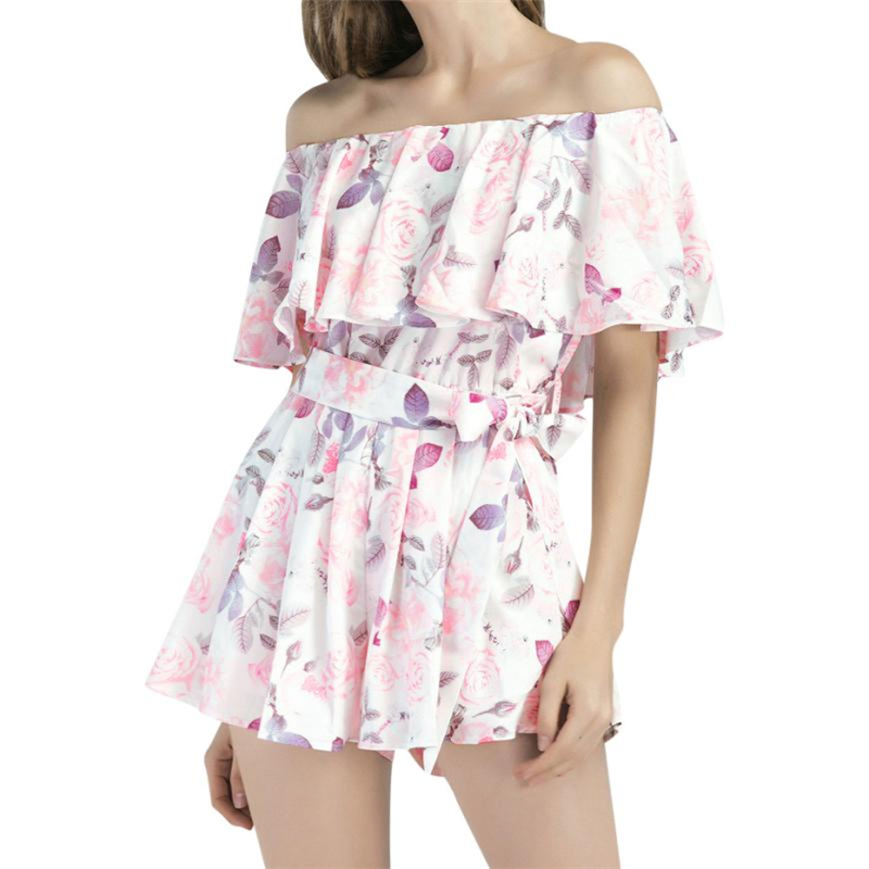 CHAMSGEND Rompers womens jumpsuit summer Women Ruffles Printing Holiday Mini Playsuit Ladies Summer Beach Rompers O0707#30