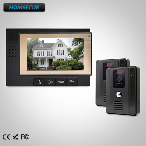HOMSECUR 7 Hands-free Video Door Entry Security Intercom+Dual-way Intercom : TC011-B +TM702-B homsecur 8 wired hands free video door entry security intercom lcd color screen tc011 w tm801r b