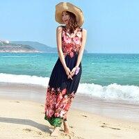 Robe femme ete שמלת V העמוק צוואר חוף קיץ 2017 נשים שרוולים סקסי גב הפתוח ארוך מקסי פרחוני שיפון בתוספת גודל 3XL שמלת