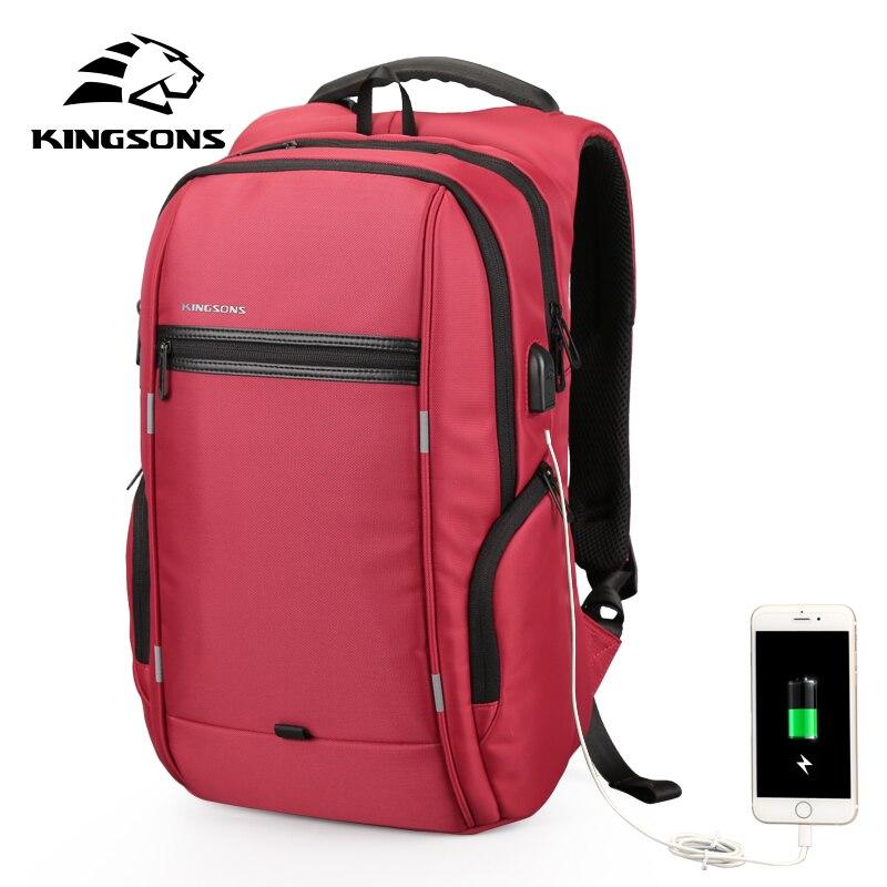 Kingsons Brand External USB Charge Computer Bag Anti-theft 13/17 inch Waterproof Laptop Backpack for Men Women Travel Bag