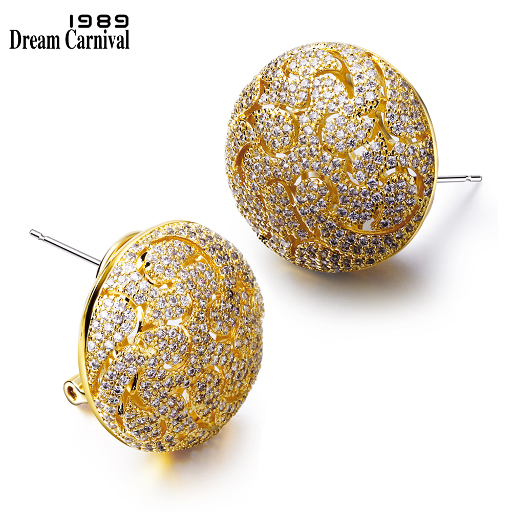 Dreamcarnival1989 Synthetic Cubic Zircon Rose Gold and Rhodium or Gold color Stud Earrings Deluxe Pave Setting