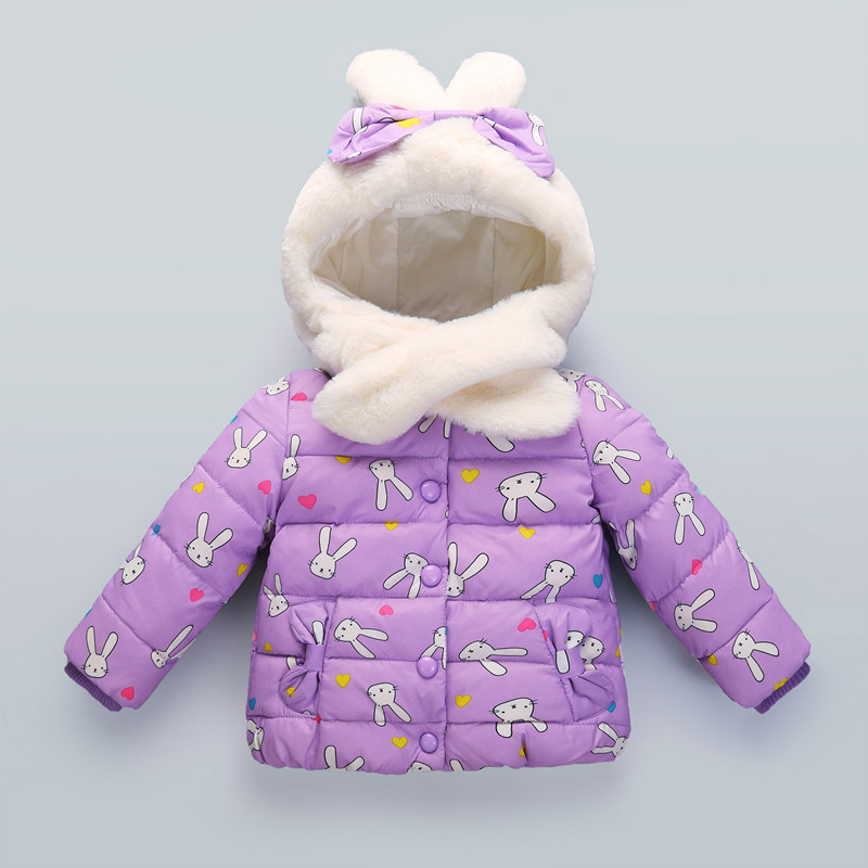 Girls Winter Coats New Design 2017 Fashion Cartoon Rabbit Jackets Cotton Down Thicken Kids Clothes 2017 new coats