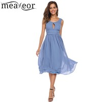 Meaneor Keyhole Backless Ruched Waist Chiffon Pleated Dress Women O Neck Sleeveless Party Dress Sexy Summer