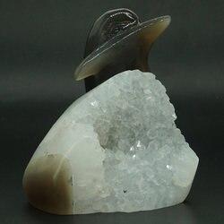 Delfin Reiki Healing figurka naturalny kamień agat Hollow Geode rzeźbione Decor|Posągi i rzeźby|   -