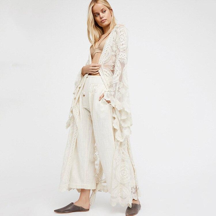 V-cou dentelle up manches longues dentelle long cardigan d'été blouse femmes plus size fashions blanc sexy plage boho top