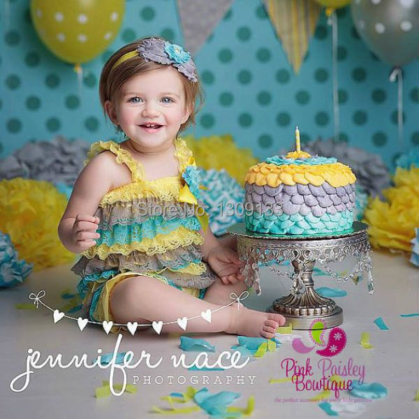 Baby Girl 1st Birthday Outfit Yellow Ruffle Romper Baby Girl Rompers