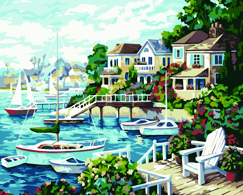HQ seaside city fairy villa DIY Painting By Numbers Gift Coloring By ...