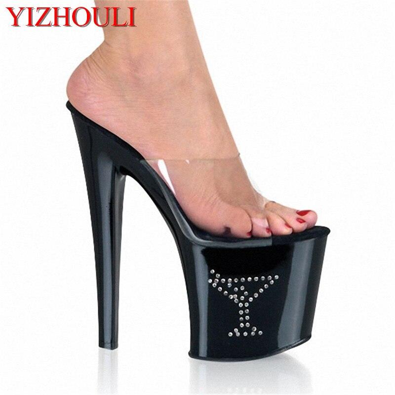 À Modèle Noir Chaussures En Plastique Piste Chaussures Cm Chaussures dîner Robe 20 Chaussure Diamant sandales Hauts Talons Xgxavq